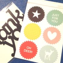 "Embellishments #1 from September 2015 Studio Calico Stationery Kit - acrylic ""Thank You"" and pinked edge sticker seals"