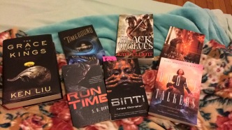 The full book haul from the Science Fiction & Fantasy Writers of America mass autographing event. A mixture of books I had purchased previously, books I purchased at the event, and books I received for free at the event.